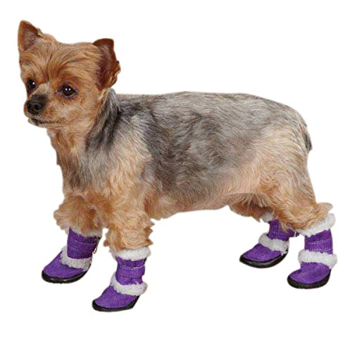 East Collection Side Boots - East Side Collection Polyester Sherpa Dog Boot, Medium, Ultra Violet