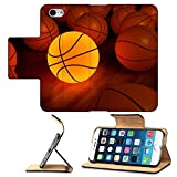 Luxlady Premium Apple iPhone 6 iPhone 6S Flip Pu Leather Wallet Case IMAGE ID 1194874 basketball glow game ball over the hardwood floor 3D