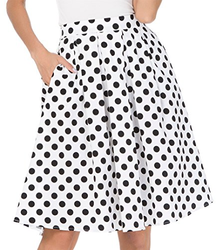 Fuschia Womens Skirt (Janmid Women's High Waisted A Line Street Skirt Skater Pleated Full Midi Skirt WhiteDot XL)