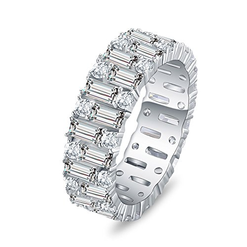 ubic Zirconia Eternity Band Engagement Ring Wedding Anniversary 925 Sterling Silver (7) ()