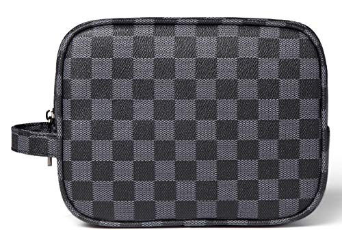 - Daisy Rose Luxury Checkered Make Up Bag | PU Vegan Leather Cosmetic toiletry Travel bag (Black)