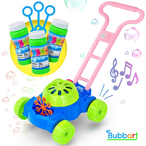 Bubbart Bubble Lawn Mower Automatic Bubble Machine for Kids- Outdoor & Indoor Toys for Toddlers Lot of Fun for your Little Ones | Bonus 3 Bottle Bubbles Solution and Sticks , Suitable for Boys & Girls ()
