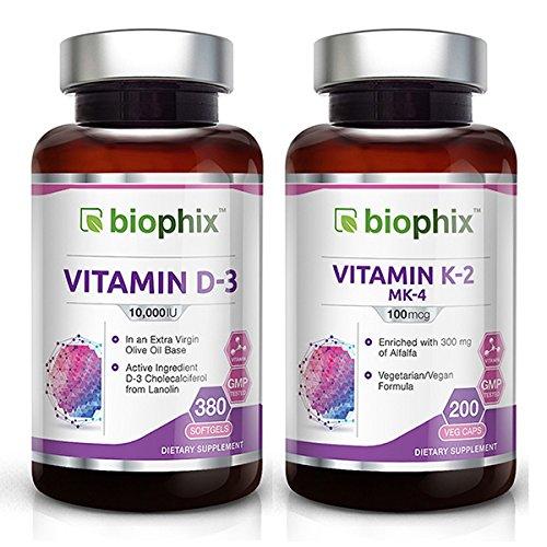 Biophix Vitamin D-3 10000 IU 380 Softgels - Biophix Vitamin K-2 100 mcg 200 Caps