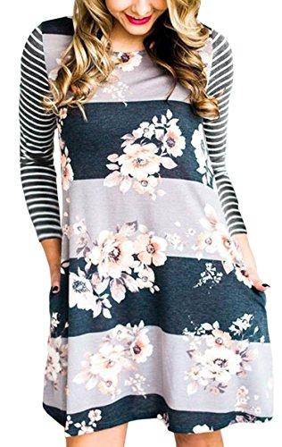 Stripe Casual Dress - Hibluco Women's Casual Long Sleeve Stripe Floral Tunic A-line Dress with Pockets (X-Large, K3)