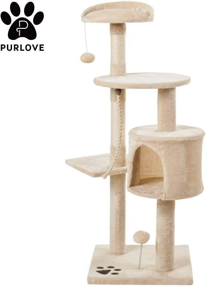 Cat tree tower with hammock and kitten scratching post big cat play center PET Deluxe Multi Level activity playgournd