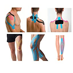 FITOP 4 Rolls Cotton Kinesiology Tape 2 Inches X 16.4 Feet Roll Different Color(Pink, Blue, Black, Beige)
