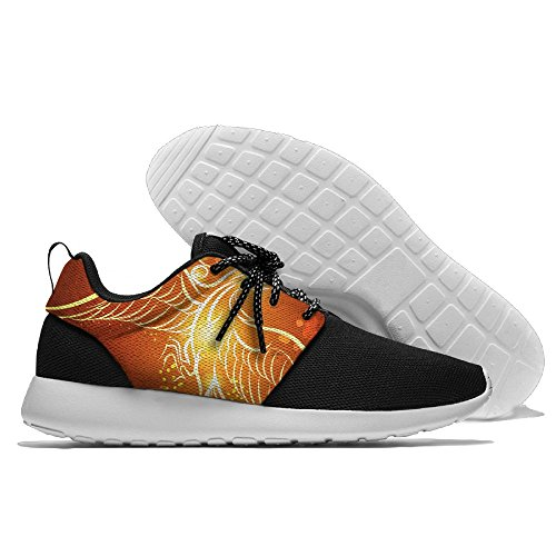 Rising Phoenix Pattern Men's Mesh Running Shoes Sneakers Breathable Athletic Workout Fitness Sports Shoes Trainers 46 (Mens Running Phoenix Shoes)
