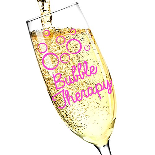 erfect Gift for Champagne Lovers! 8oz Champagne Glass Flute, Made in USA - by Salty & Sweet (1, Bubble Therapy) (Pink Champagne Gift)