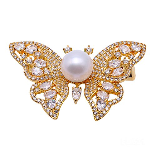 JYX Fine Butterfly-style White Freshwater Pearl Brooches Pins Golden-tone