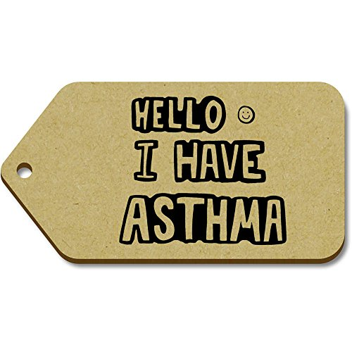 Asthma Source Book (10 x Large 'Asthma Greeting' Wooden Gift / Luggage Tags (TG00056634))