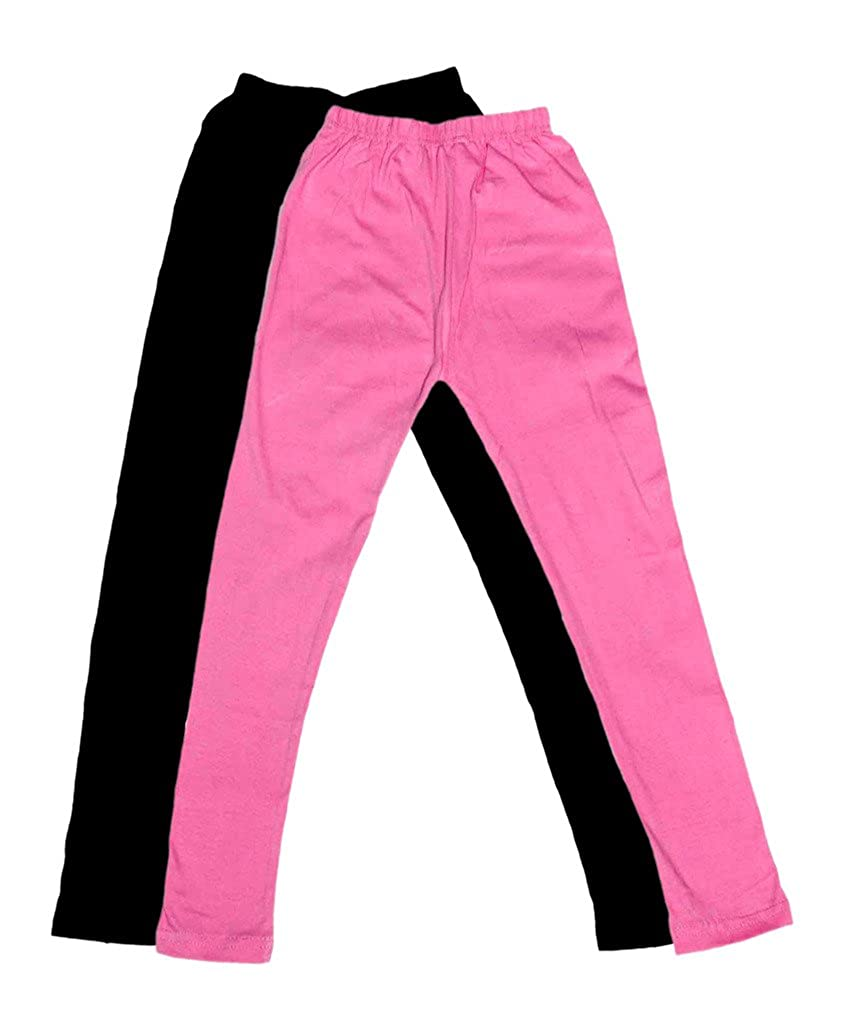 Indistar Girls Super Soft Ankle Length Cotton Lycra Leggings Pack of 2 /_Black::Pink