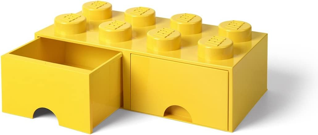 LEGO Brick Drawer, 8 Knobs, 2 Drawers, Stackable Storage Box, Bright Yellow