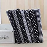 BeesClover 7pcs 50cmx50cm Black Cotton Patchwork Fabric for DIY Sewing Quilting Craft Tilda Doll Baby Cloth Textiles Show