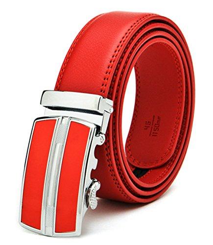 ITIEZY Men's Leather Ratchet Belt Automatic Sliding Buckle Designer Belt For Men