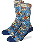 Good Luck Sock Men's Lucha Libre Mexican Wrestlers Socks - Blue, Shoe Size 8-13