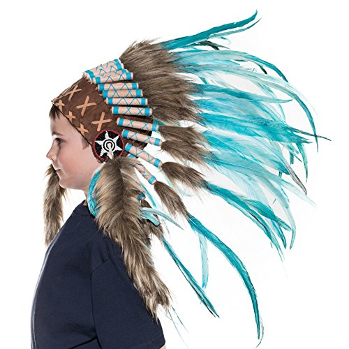 Novum Crafts Kids Feather Headdress | Native American Indian Inspired | Turquoise (Feathered Headdress)