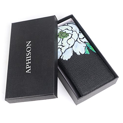 Purse Long Clip Money APHISONUK Floral Women Card Zipper Around Penoy for Womens Wallet White Wallets Case Holder Leather xnwq8ROwv0