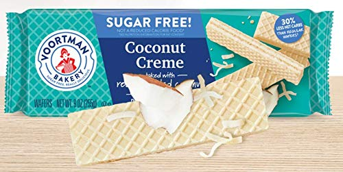 Voortman Coconut Creme Wafers Sugar Free 9 Oz (Pack of 4) (Coconut Sugar Free Cookies)