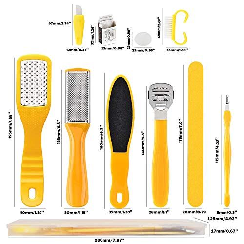 Happy Will 10 in 1 Professional Pedicure kit Foot Rasp Stainless Steel Foot File Callus Remover Kit for Women Men Home Travel Salon Foot Care Kit (Yellow)