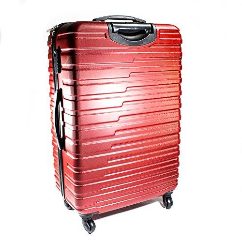 ALEKO LG915BURG ABS Luggage Travel Suitcase Set with Lock 3 Piece Horizontal Stripe Burgundy by ALEKO (Image #2)