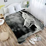 PUTIEN Flannel Fleece Blanket with 3D Wolf Profile Portrait in Nature Wildlife Carnivore Animal Decorative for Fun Playroom Decorations(49Wx78L)