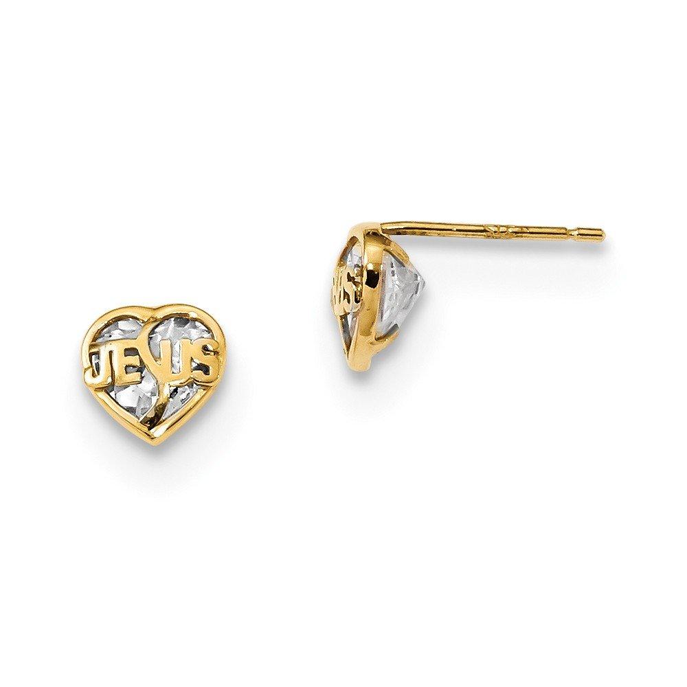 14K Yellow Gold Madi K CZ Jesus Heart Children Post Earrings