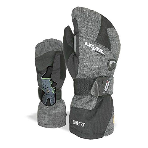 Level Half Pipe GTX Snowboard Protective Mittens with GoreTex Shell, BioMex Integrated Wrist Guards, ThermoPlus Liner (Anthracite, Large (9.0 in)) by Level