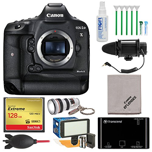 Canon EOS 1D X Mark II 4K Digital SLR Camera with 128GB Card + Reader + Microphone & LED Video Light + Kit