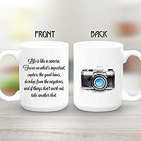 Camera Mug, Large 15 oz coffee mug, Life is like a camera, Photographer Gift, Inspirational Gift