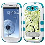 One Tough Shield ® Hybrid 3-Layer Kick-Stand Case (White/Teal) for Samsung Galaxy S-III S3 - (Green Tree)
