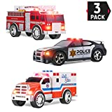 Liberty Imports 3-in-1 True Hero Vehicles Kids Toy Cars PlaySet | 3-Button LED Light & Sound Effects (Emergency Vehicles)