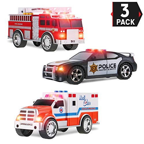 Liberty Imports 3-in-1 True Hero Vehicles Kids Toy Cars PlaySet | 3-Button LED Light & Sound Effects (Emergency ()