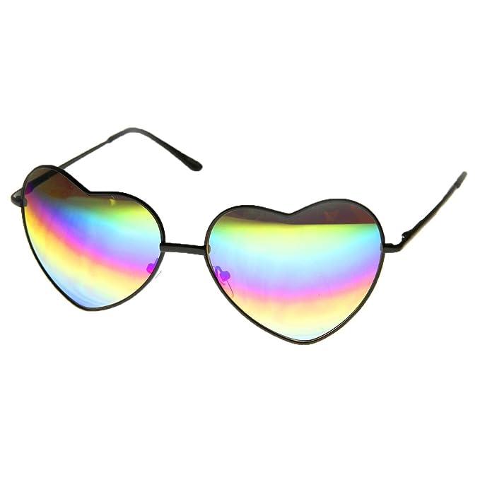 225b38442 Amazon.com: Women's Rainbow Heart Frame Sunglasses (Black): Clothing