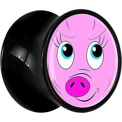 1,27 cm acrílico negro de la silla de cara de cerdo enchufe Inglés: Body Candy: Amazon.es: Joyería