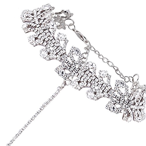 Glamaker Women's Wide Diamond Neck Rhinestone Choker Necklace with Pendant Silver