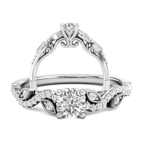 Amazon 14k White Gold Floral Engagement Ring Flower Petal Ring