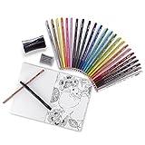 Prismacolor Premier Pencils Adult Coloring Kit with Blender, Art Marker, Eraser, Sharpener & Booklet, 29 Piece