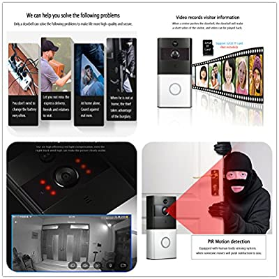 Adventurers Low-Power Consumption Remote Wireless Bluetooth WiFi Smart DoorBell 720 HD Video PIR Camera Motion Detect Chimes,Indoor Receiver,Real-Time Two Way Talk Night Vision and App Control