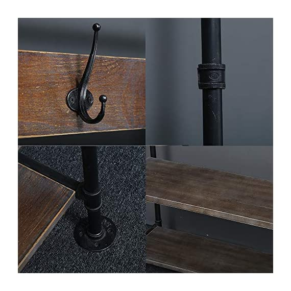WGX Design For You Industrial Coat Rack Shoe Bench, Hall Tree Entryway Storage Shelf, Solid Wood with Pipe Frame - 【Retro Style】:Industrial style solid wood and pipe 【Multi-functional】:Beautiful and practical .You can use it wherever you want. 【Size】:Total height:63in*31.5in*12.5in - hall-trees, entryway-furniture-decor, entryway-laundry-room - 512F%2BsuWDHL. SS570  -