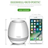 YICHUMY Bluetooth Flower Pot Speaker Touch Sensitive Smart Music Flower Pot Music Bluetooth Music Flowerpot Led Colorfull Light Smart Flower Pot Led Flower Pot (whitout Plants) (White)
