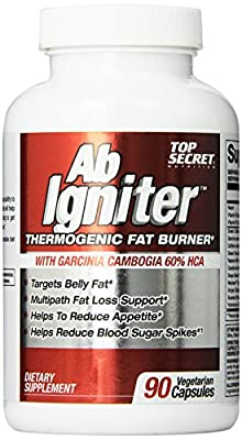 Top Secret Nutrition AB Igniter Thermo Genic Fat Burner Veg Capsules, 90 Count