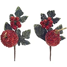 """Pack of 12 Decorative Red and Green Artificial Glittered Apple and Pear Craft Picks 12"""""""