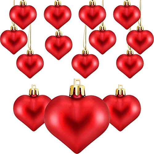 Frienda Heart Shaped Tree Baubles Glitter Matt Valentine Acrylic Heart Ornaments, 1.77 x 1.96 Inch/ 4.5 x 5 cm (24, ()