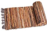 HF by LT Tucson Leather Table Runner, 13'' x 78'', Handwoven Recycled Leather and Soft Cotton, Brown
