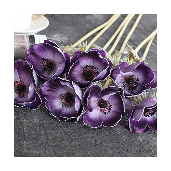 FASGION Real Touch Artificial Anemone Flowers Silk Artificial for Wedding Holding Fake Flowers Home Garden Decorative Wreath (Color : Purple)