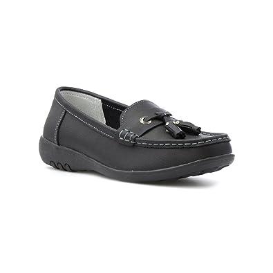 Damen Schwarz Leder-Slipper Loafer - Größe 3 UK / 35.5 EU - Schwarz Cushion-Walk YN3w04sncn