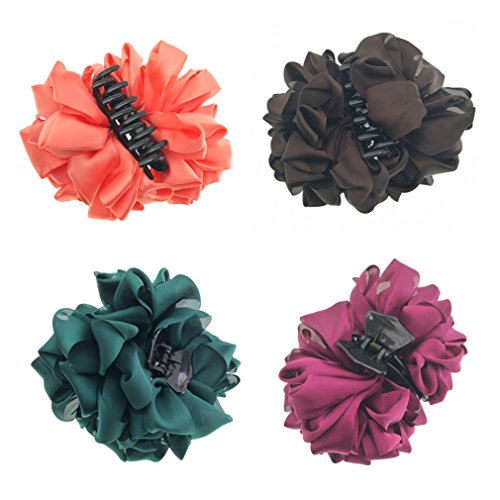 4 Counts Silk Flower Bow Large Girls Hair Claw Jaw Clips For Women Hair clamps