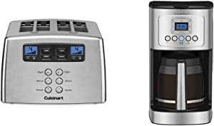 Cuisinart Touch to Toast Leverless toaster, 4-Slice, Brushed Stainless Steel & DCC-3200P1 Perfectemp Coffee Maker, 14 Cup Progammable with Glass Carafe, Stainless Steel