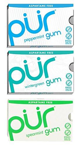 PUR GUM BUNDLE:Pack of Peppermint Gum- Pack of Wintergreen Gum - Pack of Spearmint Gum,9 Pieces Per Pack