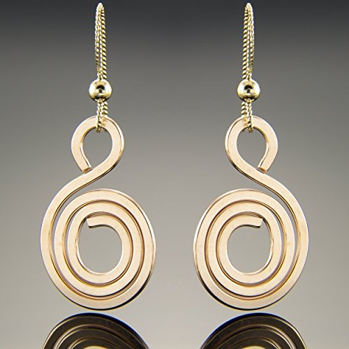 Spiral Dangle Earrings in 14K Rose Gold Fill